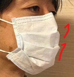 向き マスク プリーツ